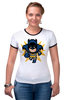 "Футболка ""Рингер"" (Женская) ""Бэтмен (8-бит)"" - batman, бэтмен, пиксели, 8-бит"