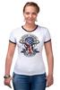 "Футболка ""Рингер"" (Женская) ""Skull Art"" - skull, череп, usa, американский флаг, american flag"