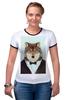 """Футболка Рингер """"Деловой волк"""" - бабочка, смокинг, волк, wolf, деловой"""