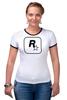 """Футболка """"Рингер"""" (Женская) """"Rockstar"""" - авторские майки, games, игры, игра, game, gamer, gta, rockstar, рокстар, rockstar games"""