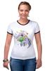 """Футболка Рингер """"Муравьед с цветами"""" - праздник, цветы, 8 марта, поздравление, муравьед"""