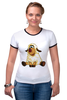 """Футболка """"Рингер"""" (Женская) """"Good Luck"""" - смешные, новый год, овца, sheep, 2015, овечка"""