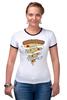 "Футболка ""Рингер"" (Женская) ""Пицца Навсегда (Pizza Forever)"" - пицца, pizza"