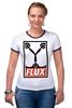 """Футболка """"Рингер"""" (Женская) """"Flux Capacitor (Назад в Будущее)"""" - назад в будущее, obey, back to the future, flux capacitor"""