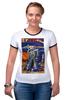 """Футболка """"Рингер"""" (Женская) """"Bad Robot"""" - red, винтаж, robot, робот, иллюстрация, blue, vintage, журнал, обложка"""