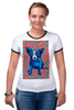 """Футболка """"Рингер"""" (Женская) """"Синий Пес"""" - любовь, сердца, собака, синий пес, blue dog"""