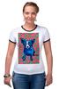 "Футболка Рингер ""Синий Пес"" - любовь, сердца, собака, синий пес, blue dog"