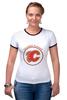 "Футболка Рингер ""Calgary Flames"" - хоккей, nhl, нхл, калгари флеймз, calgary flames"