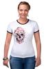 """Футболка Рингер """"Цветочный Череп"""" - skull, для девушек, цветы, черепа"""