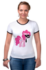 "Футболка ""Рингер"" (Женская) ""My Little Pony - Пинки Пай (Pinkie Pie)"" - pony, mlp, пони, пинки пай"