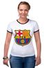 "Футболка ""Рингер"" (Женская) ""Барселона"" - футбол, клуб, barcelona, барселона, испания, football club"