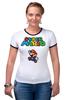 "Футболка ""Рингер"" (Женская) ""Super Mario"" - денди, dendy, марио, mario bros, 8bit"
