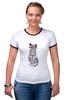 "Футболка Рингер ""Gansta cat"" - кот, арт, cat, девушке, хипстер"