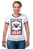 "Футболка ""Рингер"" (Женская) ""Мишка (Bear, Obey)"" - bear, медведь, obey"