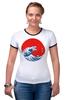 """Футболка """"Рингер"""" (Женская) """"Годзилла из волны"""" - япония, japan, ocean, годзилла, godzilla"""