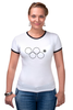 """Футболка """"Рингер"""" (Женская) """"Олимпийские кольца в Сочи 2014"""" - олимпиада, нераскрывшееся олимпийское кольцо, олипийские кольца, сочи-2014, sochi-2014"""