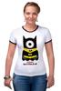 """Футболка Рингер """"Minion Batman                        """" - смешные, приколы, мультики, comics, стиль, batman, супергерои, dc, миньоны, superhero"""