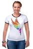 "Футболка ""Рингер"" (Женская) ""Mozart L`opera Rock "" - арт, авторские майки, wings, рисунок, color"