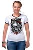 "Футболка Рингер ""Skull Art"" - skull, череп, mayhem, фестиваль, festival"