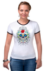 """Футболка """"Рингер"""" (Женская) """"Цветочный череп"""" - skull, череп, арт, цветы"""