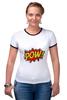 "Футболка ""Рингер"" (Женская) ""Pooow!"" - boom, pop art, pow, blast"