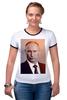"""Футболка """"Рингер"""" (Женская) """"Путин-Арт"""" - россия, путин, президент, кремль, ввп"""
