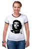 """Футболка """"Рингер"""" (Женская) """"Viva la revolucion!"""" - че, че гевара, che, революционер, che guevara"""