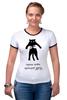 """Футболка """"Рингер"""" (Женская) """"Черные коты приносят удачу"""" - удача, коты, черная кошка, black cat"""