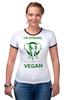 """Футболка Рингер """"I'm strong & i'm vegan"""" - веган, vegan"""