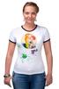 """Футболка """"Рингер"""" (Женская) """"Креативный портрет"""" - авторские майки, smile, рисунок, улыбайся, color"""