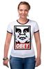 "Футболка ""Рингер"" (Женская) ""obey."" - obey, street art, contemporary"