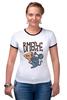 """Футболка """"Рингер"""" (Женская) """"Мышь и пицца. Парные футболки."""" - парные, ко дню влюбленных, мышь и пицца, всегда вместе, надписи для двоих"""