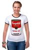 """Футболка """"Рингер"""" (Женская) """"Campbell's Soup (Энди Уорхол)"""" - поп арт, энди уорхол, pop art, andy warhol, campbell's soup"""