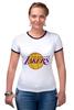 "Футболка ""Рингер"" (Женская) ""Lakers"" - баскетбол, нба, лейкерс, lakers, los angeles lakers"