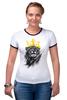"Футболка ""Рингер"" (Женская) ""Лев в короне"" - king, корона, лев, lion, царь зверей, crown"