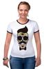 "Футболка Рингер ""Череп, усы и бабочка"" - skull, череп, арт, усы, hipster, mustache"
