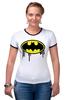"""Футболка """"Рингер"""" (Женская) """"Бэтмен (Batman)"""" - batman, бэтмен"""
