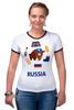 "Футболка ""Рингер"" (Женская) ""Россия (Russia)"" - патриот, россия, russia, раша"