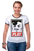 """Футболка """"Рингер"""" (Женская) """"Lego Play (Obey)"""" - gamer, lego, игрок, лего, играй"""