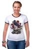 "Футболка Рингер ""Череп и ворон"" - skull, арт, авторские майки, black, red, tattoo, тату, розы, raven, roses"