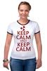 """Футболка """"Рингер"""" (Женская) """"Keep calm"""" - карлсон, спокойствие, keep calm, пропеллер, советские мультфильмы"""