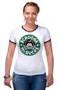 "Футболка ""Рингер"" (Женская) ""Scrooge McBucks (Starbucks)"" - пародия, coffee, старбакс, скрудж макдак"