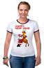 """Футболка """"Рингер"""" (Женская) """"Happy New Year"""" - праздник, happy new year, новый год, стиль, санта, олень, santa claus, deer"""