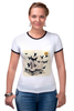 "Футболка Рингер ""Череп"" - skull, череп, бабочки, цветы, черепа, солнце, кости, death, butterflies"