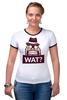 """Футболка """"Рингер"""" (Женская) """"WAT?              """" - вопрос, шляпа"""