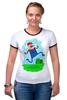 """Футболка """"Рингер"""" (Женская) """"Марио (Mario)"""" - nintendo, mario, марио, грибочек"""