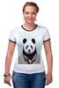 """Футболка """"Рингер"""" (Женская) """"Деловая панда"""" - медведь, мишка, панда, panda, крутая"""
