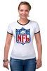 "Футболка ""Рингер"" (Женская) ""АМЕРИКАНСКИЙ ФУТБОЛ"" - nfl chargers fans, american football"
