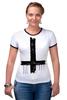 "Футболка ""Рингер"" (Женская) ""Крест"" - крест, cross, атеизм"