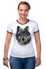 "Футболка ""Рингер"" (Женская) ""Серый Волк"" - animal, волк, wolf"